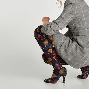 Zara OTK High Heel Boots With Printed Fabric